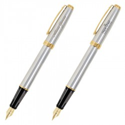 Prelude Matte Chrome & 22K Gold Trim - Fountain Pen