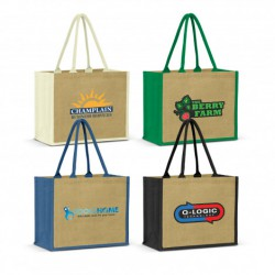 Natural Green Torino Jute Shopping Bag