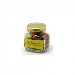 Choc Beans in Glass Squexagonal Jar 90G (Corporate Colours)