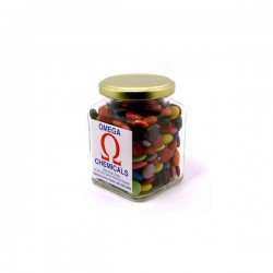 Choc Beans in Glass Square Jar 170G (Corporate Colours)