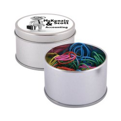 Assorted Colour @ Paperclips in Silver Round Tin