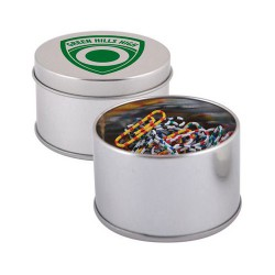 Assorted Colour Zebra Striped Paperclips in Silver Round Tin
