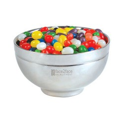 Assorted Colour Mini Jelly Beans in Stainless Steel Bowl