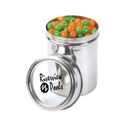 Corporate Colour Mini Jelly Beans in 12cm Stainless Steel Canister