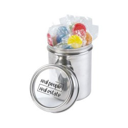 Assorted Colour Lollipops in 12cm Stainless Steel Canister