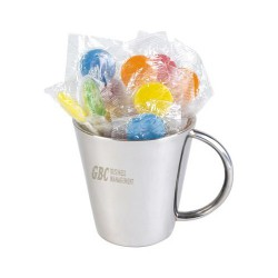 Assorted Colour Lollipops in Double Wall Stainless Steel Cup