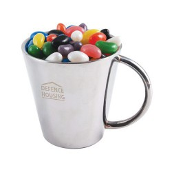 Assorted Colour Maxi Jelly Beans in Double Wall Stainless Steel Cup
