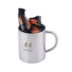 6 x Mini Mars Bars In Double Wall Stainless Steel Barrel Mug