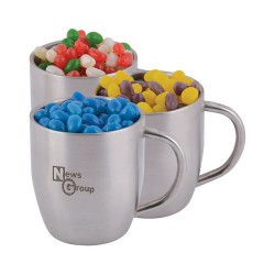 Corporate Colour Mini Jelly Beans In Double Wall Stainless Steel Curved Mug