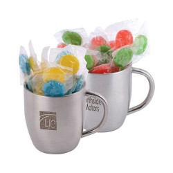 Corporate Colour Lollipops in Double Wall Stainless Steel Curved Mug