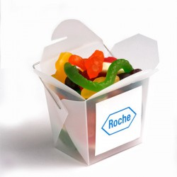 Frosted Pp Noodle Box Filled with Mixed Lollies 100G
