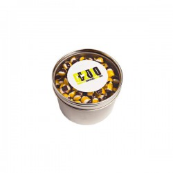 Small Round Acrylic Window Tin Fillled with Tiny Humbugs 170G