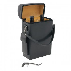 Geneva 2 Bottle Leather Wine Carrier