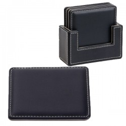 4 Piece Leather Look Square Coaster Set
